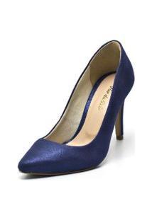 Sapato Scarpin Salto Alto Fino Em Cetim Azul