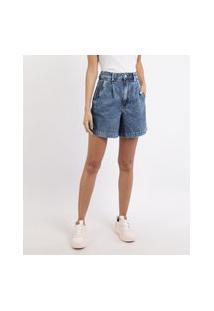 Bermuda Jeans Feminina Cintura Alta Alfaiatada Com PregasAzul Médio