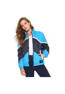 Jaqueta Puffer Ellus 2Nd Floor Colorful Cut Azul-Marinho/Branca