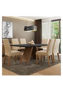 Conjunto Sala De Jantar Madesa Giovana Mesa Tampo De Madeira Com 6 Cadeiras Marrom