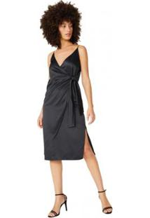 Vestido Amaro Midi Acetinado Laço Lateral Feminino - Feminino