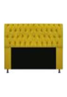 Cabeceira Estofada Lady 140 Cm Casal Com Capitonê Suede Amarelo - Amarena Móveis