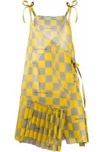 Off-White Vestido Xadrez Assimétrico - Amarelo