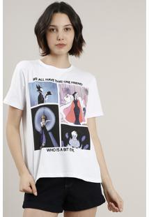 Blusa Feminina Vilãs Disney Manga Curta Decote Redondo Branca