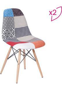 Jogo De Cadeiras Eames Dkr Patchwork- Vermelho & Madeiraor Design