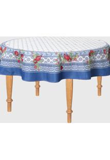 Toalha De Mesa Sempre Limpa Romana Estampada 178 X 178 Cm Azul/Branca - Azul - Dafiti
