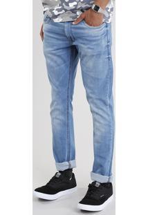 Calça Jeans Masculina Slim Em Algodão + Sustentável Azul Médio