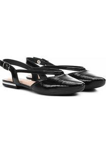 Sapatilha Chanel Em Verniz Dakota Bico Fino Feminina - Feminino-Preto