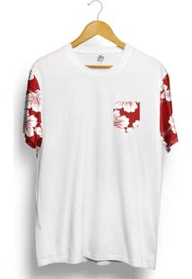 Camiseta Bsc Raglan Flower Red N White - Masculino