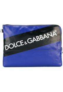 Dolce & Gabbana Clutch Com Logo - Azul