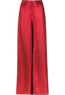 Amir Slama Calça Pantalona De Seda - Vermelho