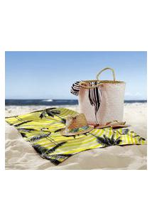 Toalha De Praia / Banho Flamingos Yellow Único