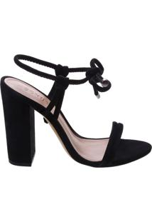 Sandália Salto Grosso Nobuck Laço Black | Schutz