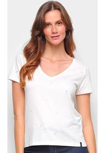 Camiseta Cantão Baby Look Mini Raio Feminina - Feminino-Branco