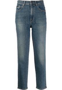 7 For All Mankind Calça Jeans Reta Com Glitter - Azul