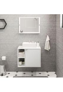 Armário De Banheiro 1 Porta Suzano Branco/Espelho - Politorno