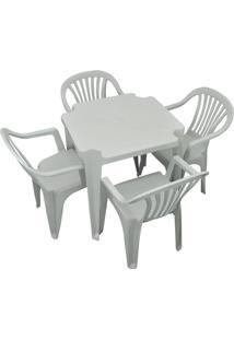 Conjunto Mesa E 4 Cadeiras Poltrona Plastico Branco 3 Conjuntos