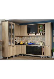Cozinha Completa Multimóveis Com 10 Peças Sicília 5804 Argila/Preto