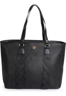 Bolsa Shopping Bag Ana Hickmann Trança Preto