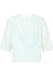 Dolce & Gabbana Blusa Translúcida Com Bordado - Azul