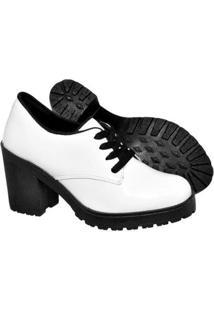 Bota Ferrarello Ankle Boot Bota Salto Verniz Feminina - Feminino-Branco