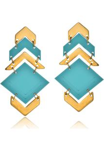 Brinco Le Diamond Triângulos Turquesa - Tricae