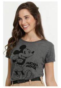 Blusa Feminina Estampa Mickey Manga Curta Disney