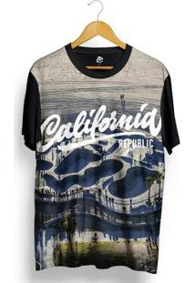Camiseta Bsc Califórnia Republic Skate Park Full Print - Masculino-Preto
