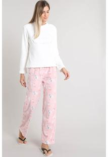 "Pijama De Inverno Feminino ""Weekend Lover"" Em Fleece Manga Longa Off White"