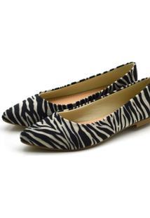 Sapatilha Bico Fino Com Laço Em Tecido Zebra