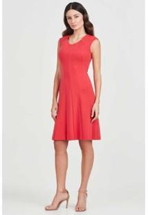 Vestido Regata Rubinella Recortes Feminino - Feminino-Vermelho