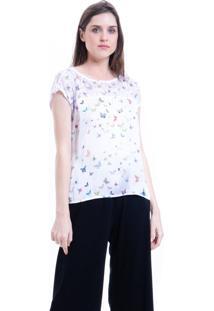 Blusa 101 Resort Wear Tunica Crepe Mangas Curtas Estampada Borboletinhas - Branco - Feminino - Dafiti