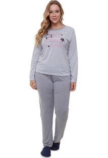 Pijama Feminino Longo Plus Size Listrado Lettering Luna Cuore