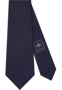 Gucci Gravata De Seda Com Bordado - Azul