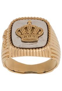 Dolce & Gabbana Anel De Sinete Com Coroa - Dourado