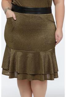 Saia Plus Size Dourada Com Babados Na Barra
