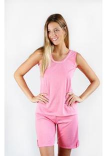 Pijama Regata Gislal Verão Shorts Bolinhas Feminino - Feminino-Rosa