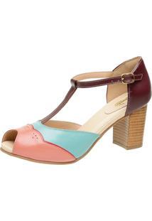 Sandã¡Lia Miuzzi Peep Toe Ref: 3197 Goiaba / Rubi / Lago / Chilli - Multicolorido - Feminino - Dafiti