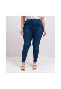 Calça Jegging Jeans Com Elástico Nas Costas Curve & Plus Size | Ashua Curve E Plus Size | Azul | 44