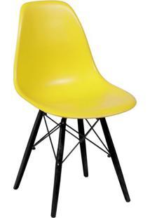 Cadeira Eames Dkr- Amarela & Madeira Preta- 80,5X46,Or Design