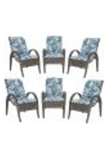 Cadeiras 6Un P/ Jardim Lazer Edicula Varanda Descanso Fibra E Tramas Napoli Plus Pedra Ferro A06