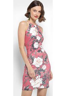 Vestido Lança Perfume Tubinho Curto Regata Colar - Feminino-Rosa