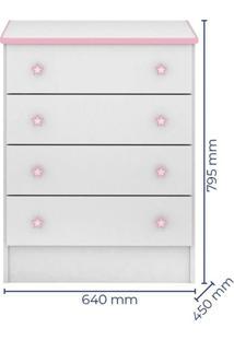Cômoda Infantil 103 Doce Sonho Branco Rosa Brilho - Qmovi