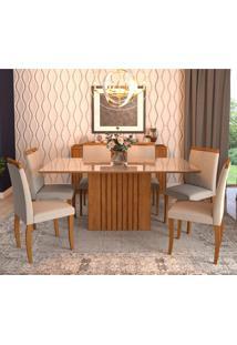 Conjunto De Mesa De Jantar Ana Com 6 Cadeiras Laura Linho Aspen E Off White