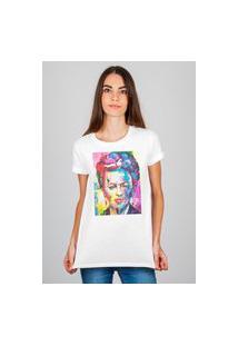 Camiseta Feminina Mirat Frida Art Branco