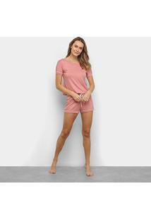Pijama Curto Lupo Short Doll Viscose Feminino - Feminino-Rosê