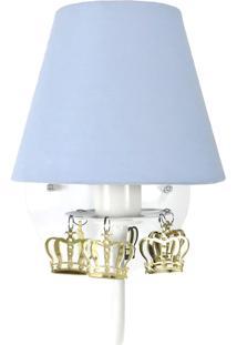 Arandela 1 Lâmpada Azul Com Coroas Douradas Quarto Bebê Infantil Menino