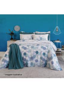 Jogo De Cama Home Design Casal- Branco & Azul Escurosantista
