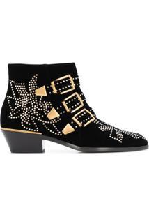 Chloé Ankle Boot Susanna Com Tachas E Salto 45Mm - Preto