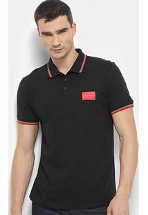 Camisa Polo Calvin Klein Mc Est Etiqueta Peito Masculina - Masculino-Preto